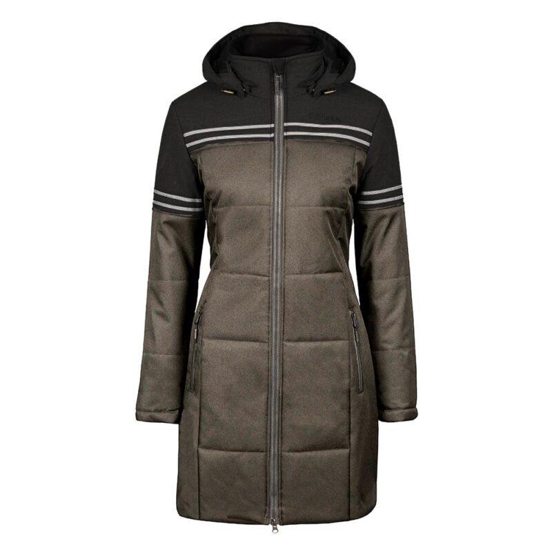 Collegiate noir et taupe, manteau pour femmes