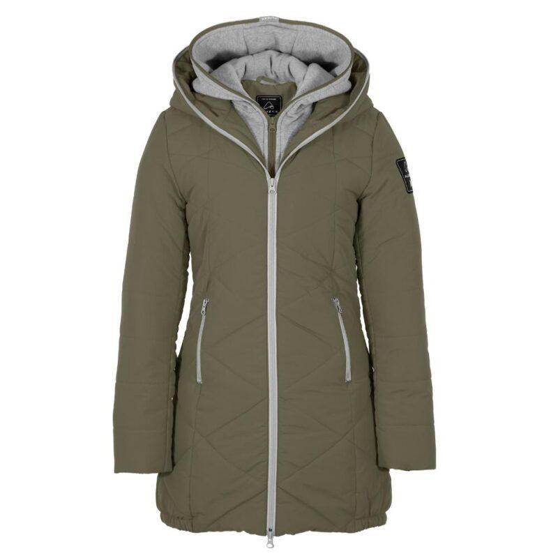 Zigzag olive, manteau pour femmes